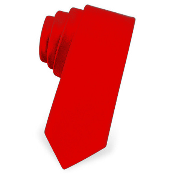 "Red Satin Skinny Narrow Tie 2.25"" Wide Standard 1274"