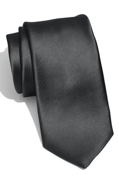 "Black 3.75"" Wide Standard Satin Tie 6826"