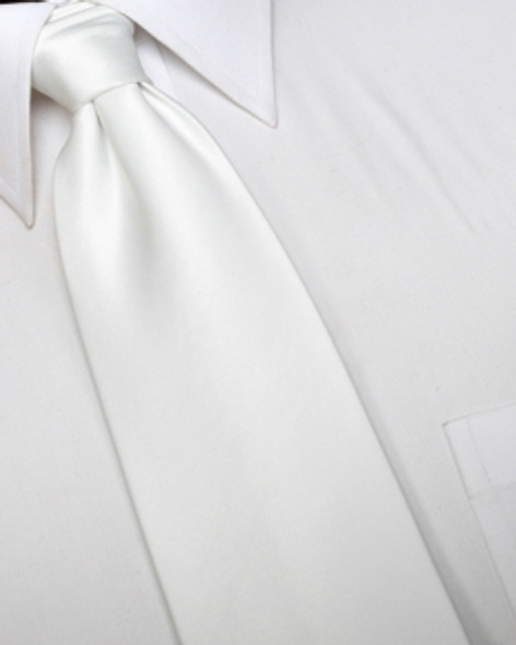 "White 3.75"" Wide Standard Satin Tie 6828"