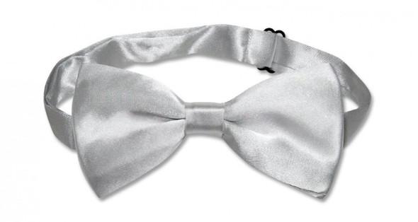 Satin Bow Tie Men's Silver 6833