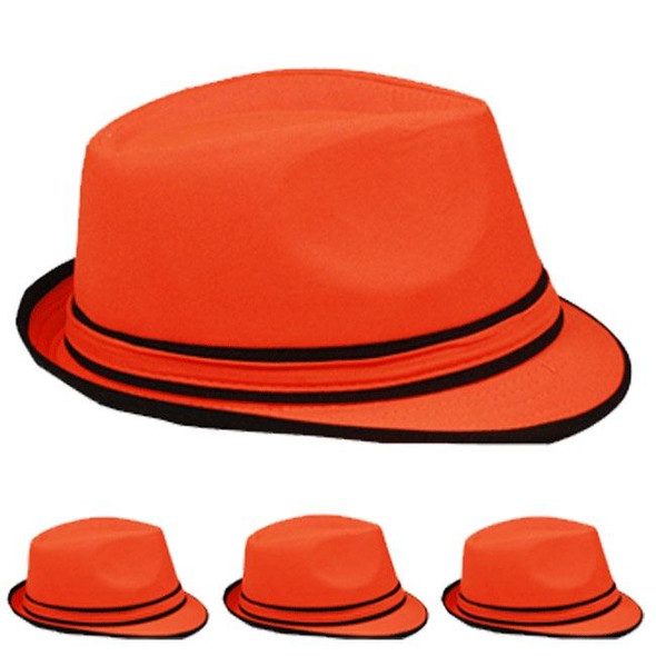 12 PACK  Orange Fedora Hats Premium Poly Cotton 1313