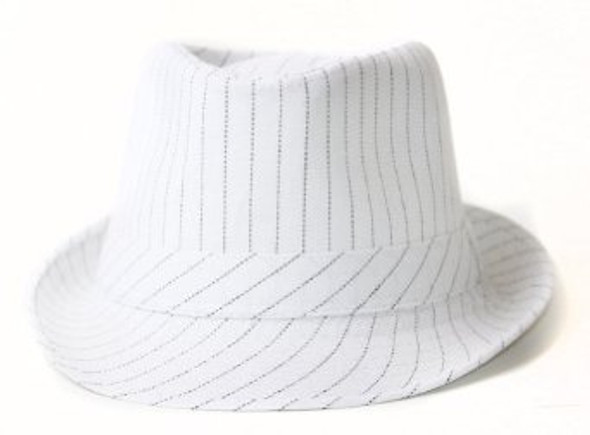 12 PACK Fedora Hat White Gangster Pinstripe 1318
