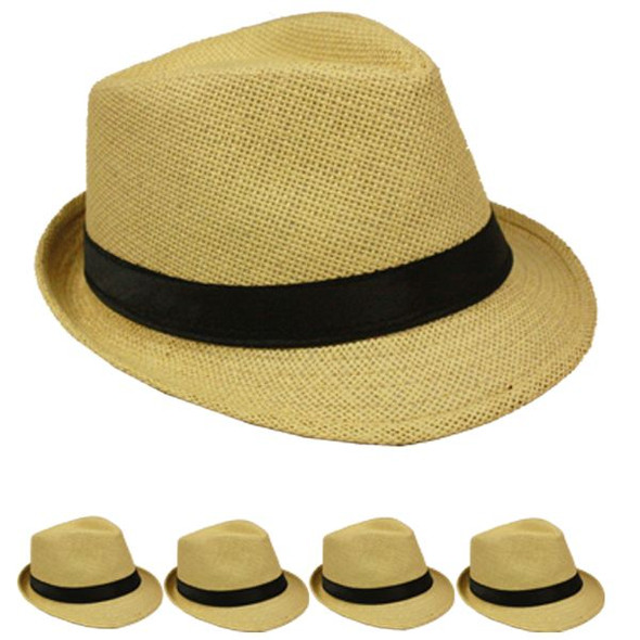 12 PACK Fedora Hats Tan Cuban Tweed with Black Band 1328