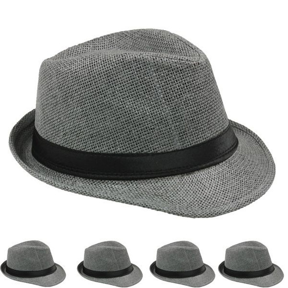 12 PACK Bulk Cuban Hats | Grey Cuban Fedora Hats | 1331