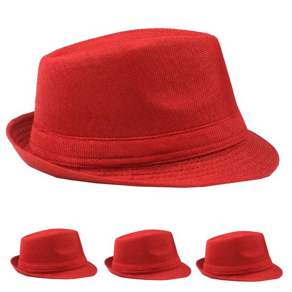 Red Gangster Hats | Red Fedoras |  Red Color 12 PACK 1332