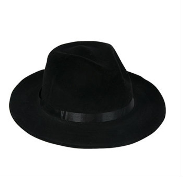 LONG BRIM Costume Gangster Fedora Hat Black Felt 1333