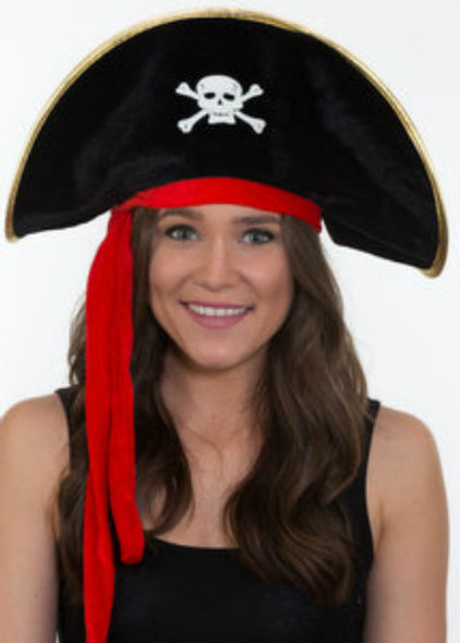 Adult Pirate Hats Bulk |  Child Pirate Hats Bulk | Gold Trim  12 PACK WS1510D