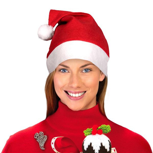 "Adult Classic Santa Hats Bulk Red 12 PACK 22.5"" Standard Adult SIze 1512D"