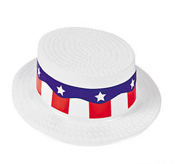 Patriotic Skimmer Hat  Plastic 12 PACK 1513