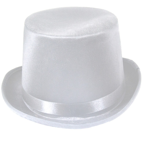 Satin Top Hat White Deluxe 1537