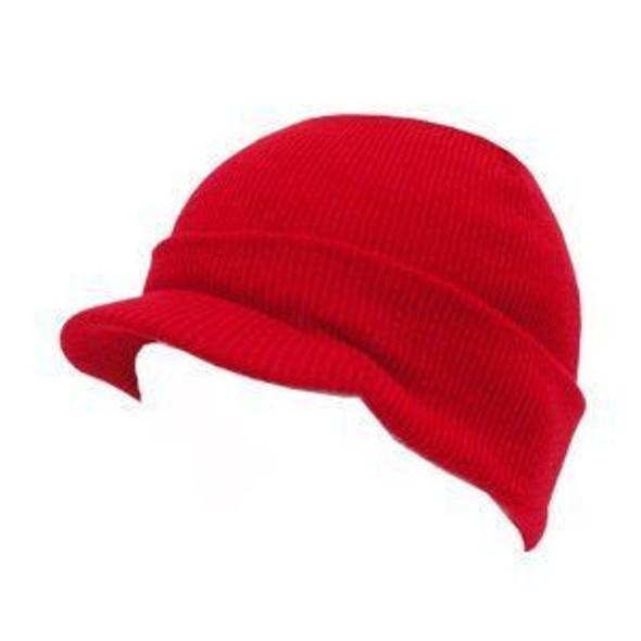 Beanie Visor Cap Red 5775