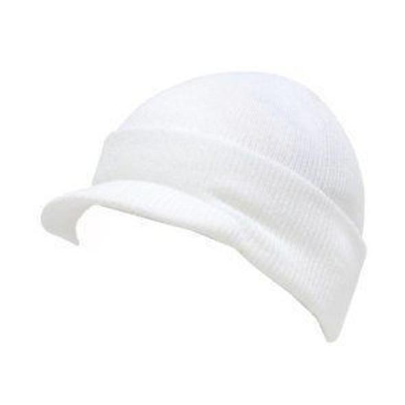 Beanie Visor Cap White 5777