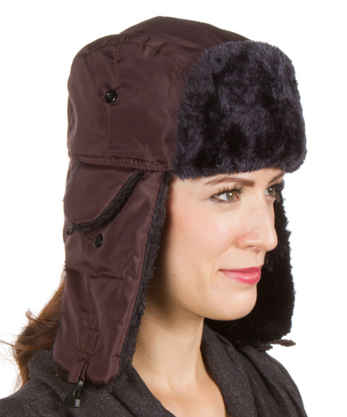 Brown Trapper Hat with Grey Faux Fur 5831 12 PACK