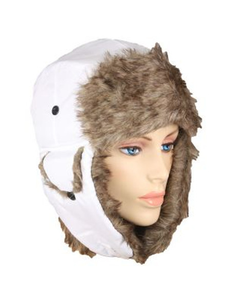Trooper Trapper Hat White 12 PACK with Brown Fur 5832
