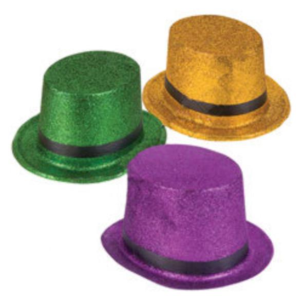 Glitter Top Hat Mardi Gras Purple 5872