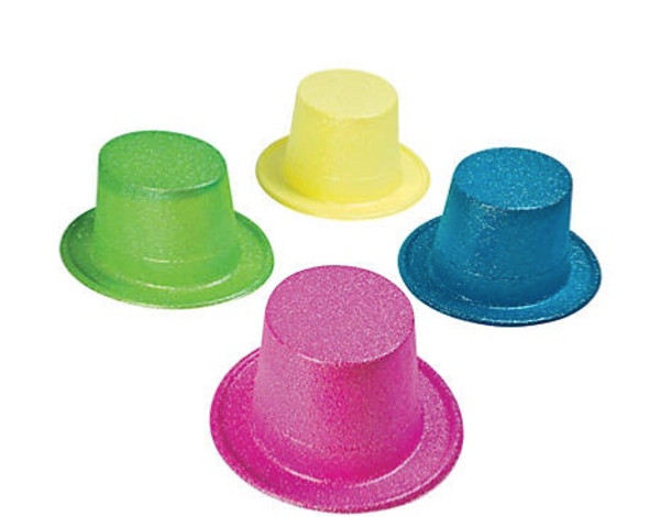 12 PACK Glitter Neon Top Hats Mix Colors 5896