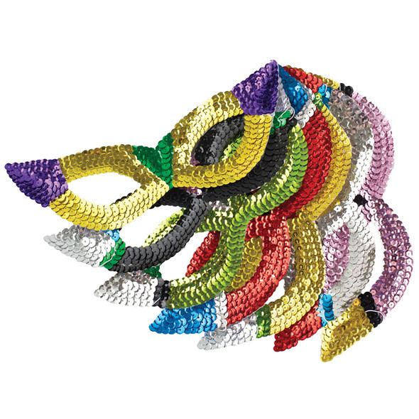 12PK Sequin Cat Eye Mardi Gras Masks 1830