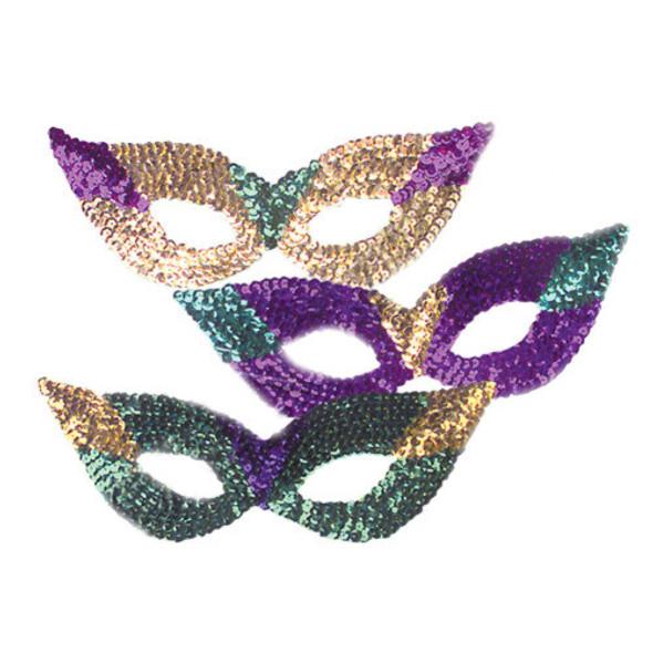 12PK Sequin Cat Eye Mardi Gras Masks 1830