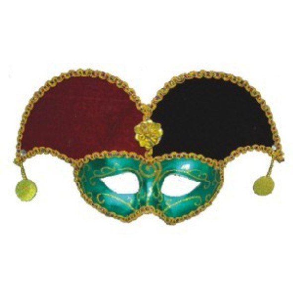 Deluxe Jester Mardi Gras Mask with Gold Trim 1831