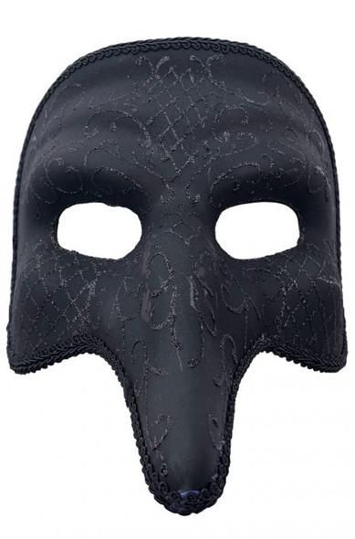 m7026 Black Zanni Style Masquerade Mask with Swan Designs 1842