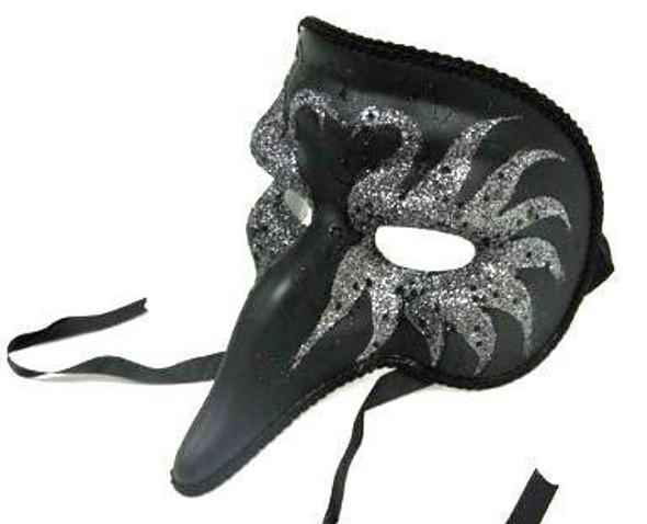 M7026 Black Zanni Style Masquerade Mask with Swan Designs 1843