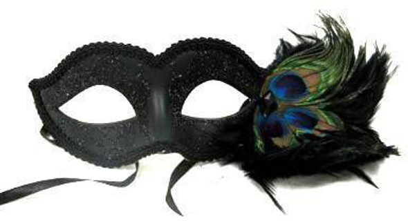 Masquerade Venetian Mask with Peacock Feathers 1846