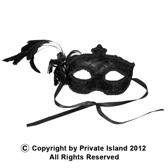 m3286 Black Lace Masquerade Mask with Feathers 1849