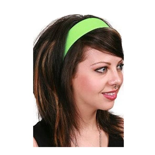 80's Neon Green Satin Headband 6669