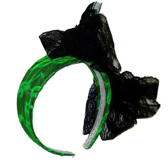 Green Lace Headband with Black Bow 6673