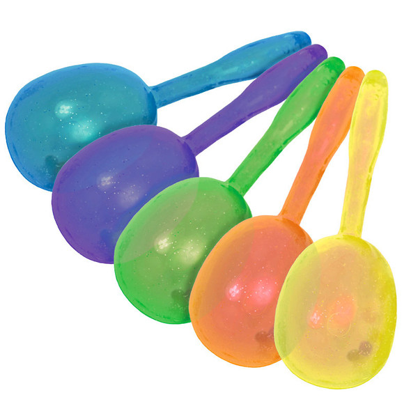 Glitter Plastic Maracas Mix Colors 12 PACK 1888 5""