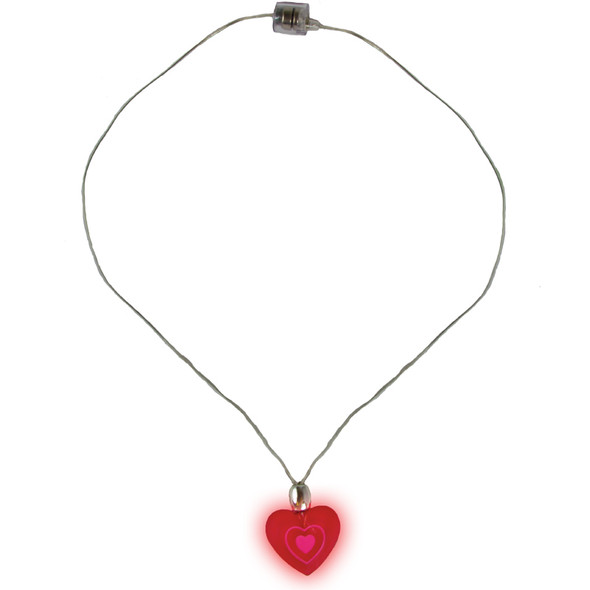 Heart Necklace Bulk | 12 PACK LED Flashing Heart Necklace Deluxe  6568