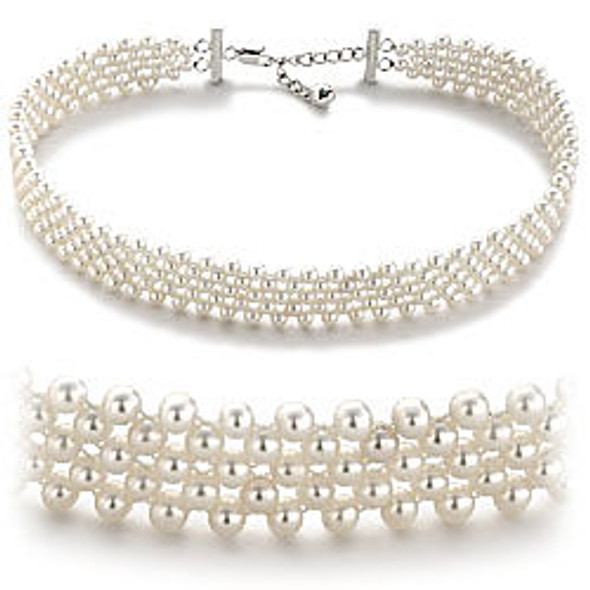 Pearl Choker with Silver Accents 1714
