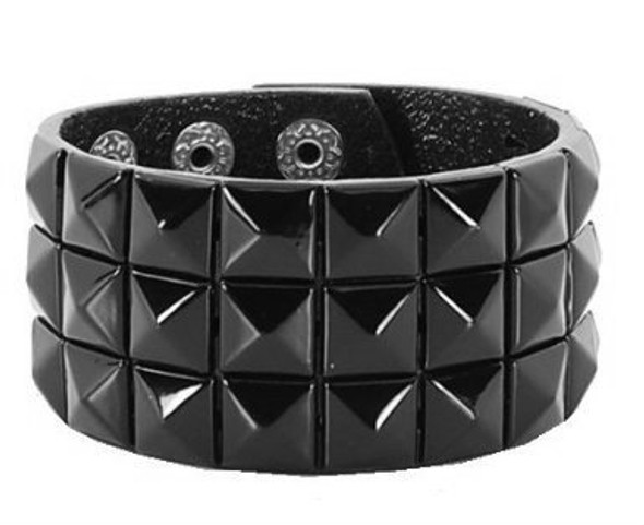 Studded Biker Wristband 3-Row Black 6505