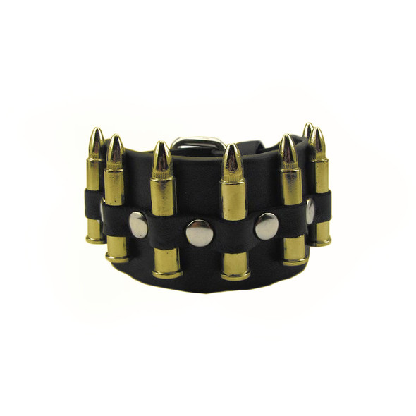 Gold Bullets Biker Wristband 6508