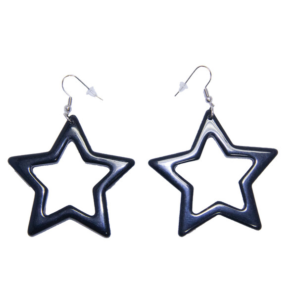 Black 80's Plastic Star Earrings 6536