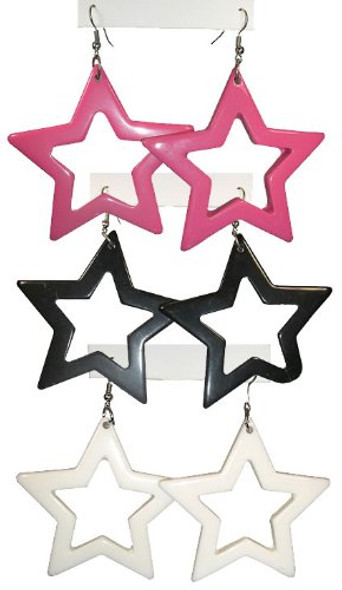 White 80's Plastic Star Earrings 6538