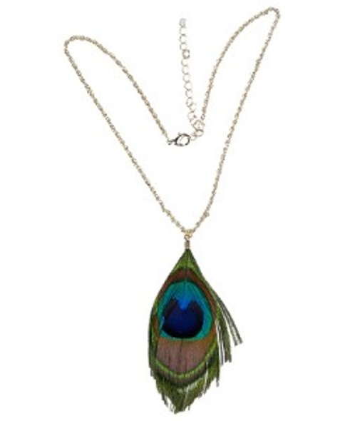 Peacock Feather  Necklace 6534