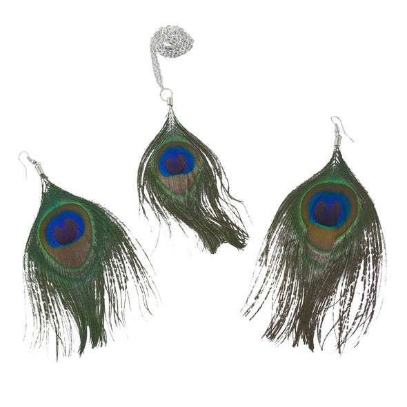Peacock Necklace and Earring Set 6533