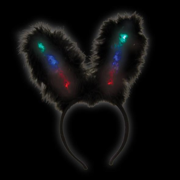 Black Flashing LED Bunny Ears 1876