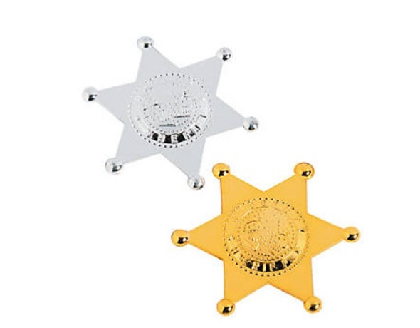 Sheriff Badge Silver/ Gold Mix 12 PACK 9006