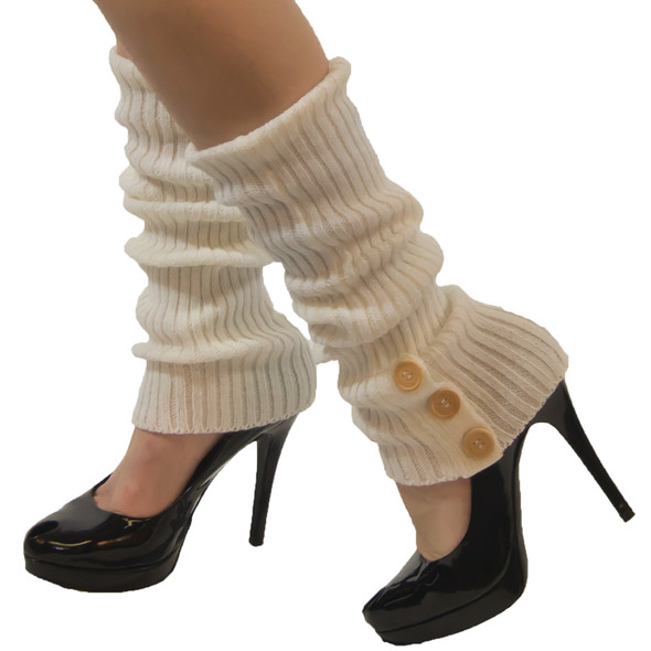 White Knit Leg Warmers with Button Trim 1256
