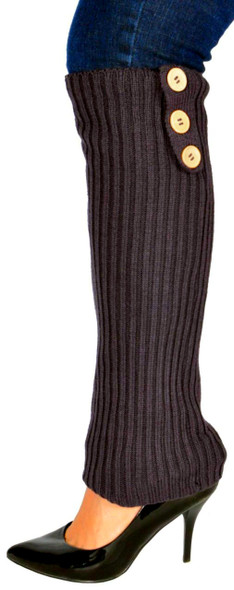 Brown Knit Leg Warmers with Button Trim 1257