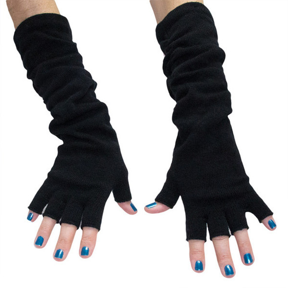 Black Long Fingerless Knit Gloves 12 PACK  5010