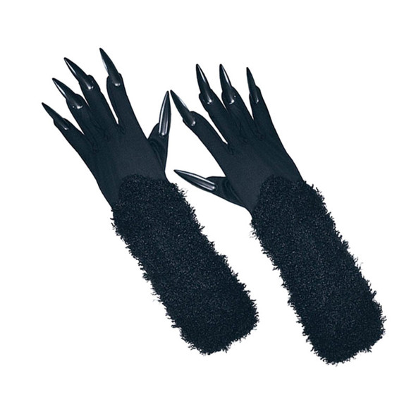 Long Black Cat Gloves with Claws 5095