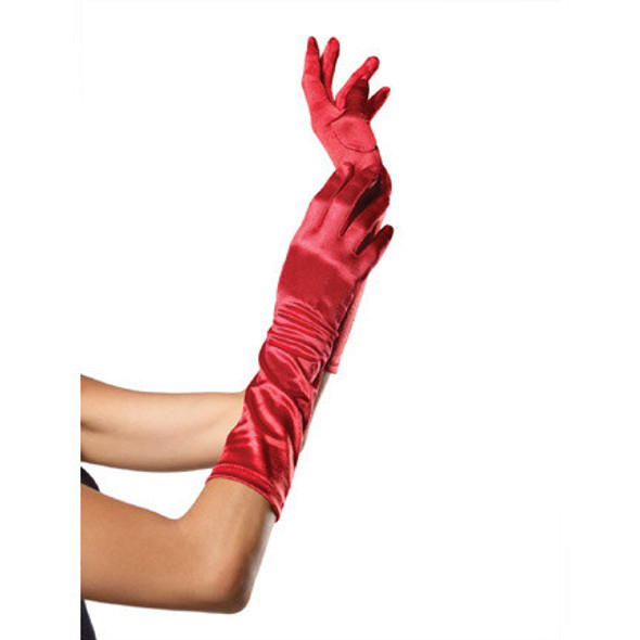 Red Long Ruched Satin Gloves 5096
