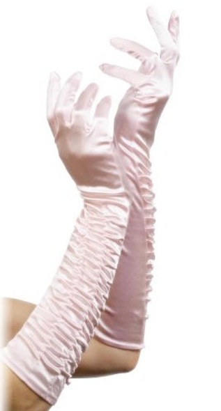 Pink Long Ruched Satin Gloves 5097