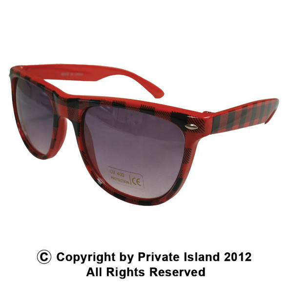 Red Buffalo Checker Vintage 80 Style Sunglasses With Iconics 1067