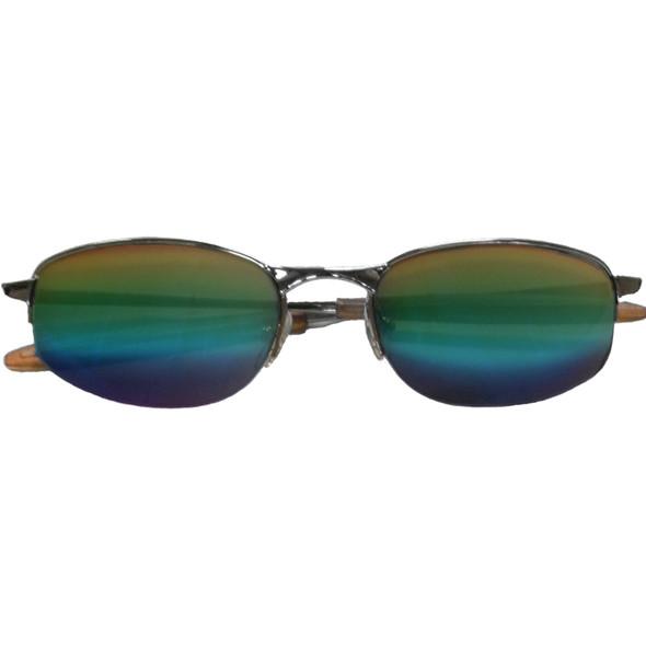 UV 400 Sports Sunglasses Rainbow Metal Silver Half Frame/Rainbow Lens 1118