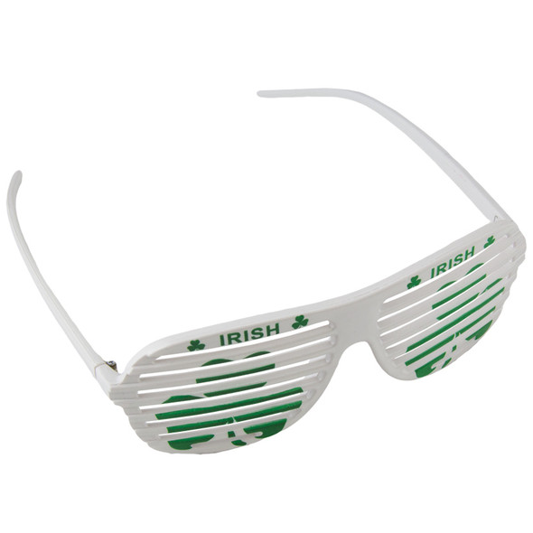 St Patricks Day Glasses White Shamrock Irish Shutter Shades 1168