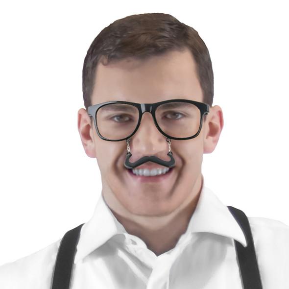 Black Mustache Sunglasses |  Mustaches Glasses |  S1 Black Incognito Clear Lens 7096